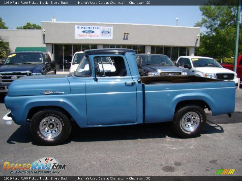 1959 Ford F100 Pickup Truck Blue / Black Photo #34