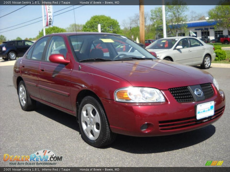 2005 nissan sentra 1 8 s inferno red taupe photo 1. Black Bedroom Furniture Sets. Home Design Ideas