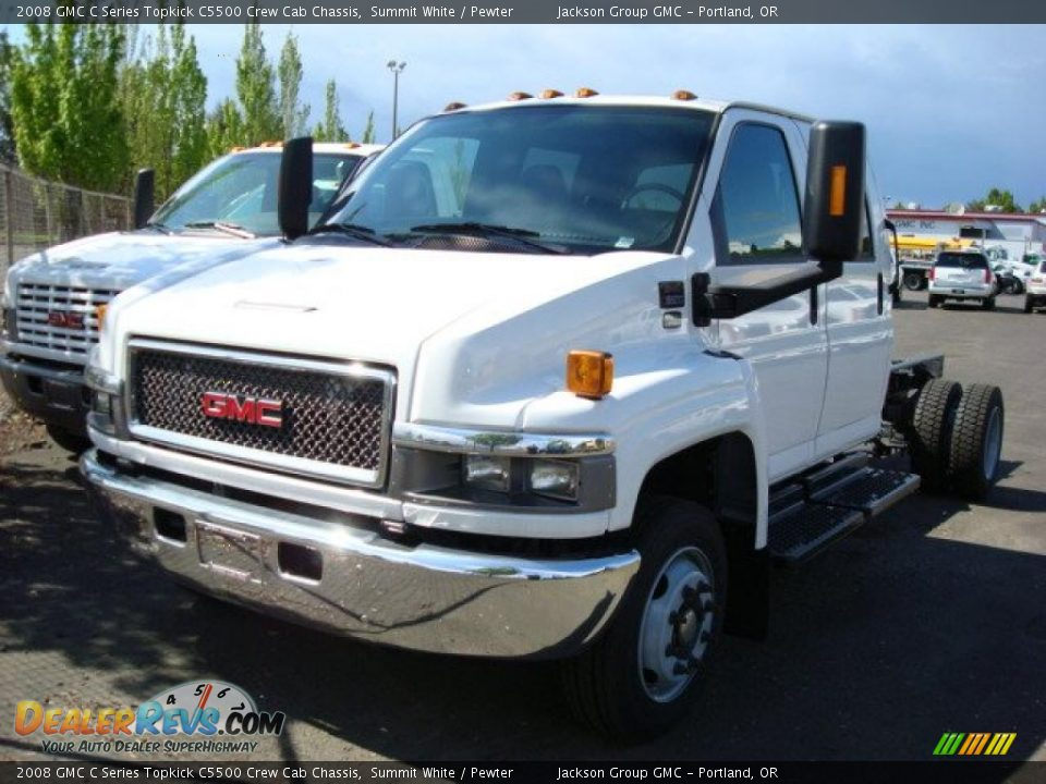 2008 GMC C Series Topkick C5500 Crew Cab Chassis Summit White / Pewter Photo #3