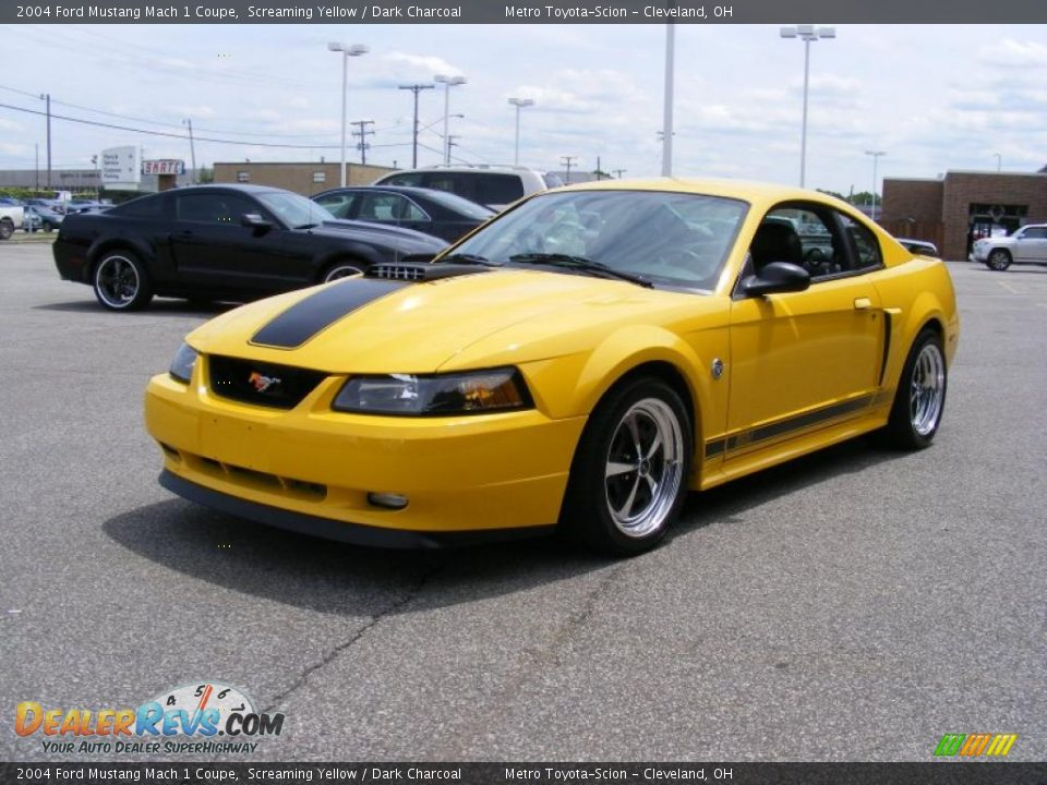 2004 ford mustang mach 1 coupe screaming yellow dark charcoal photo. Black Bedroom Furniture Sets. Home Design Ideas