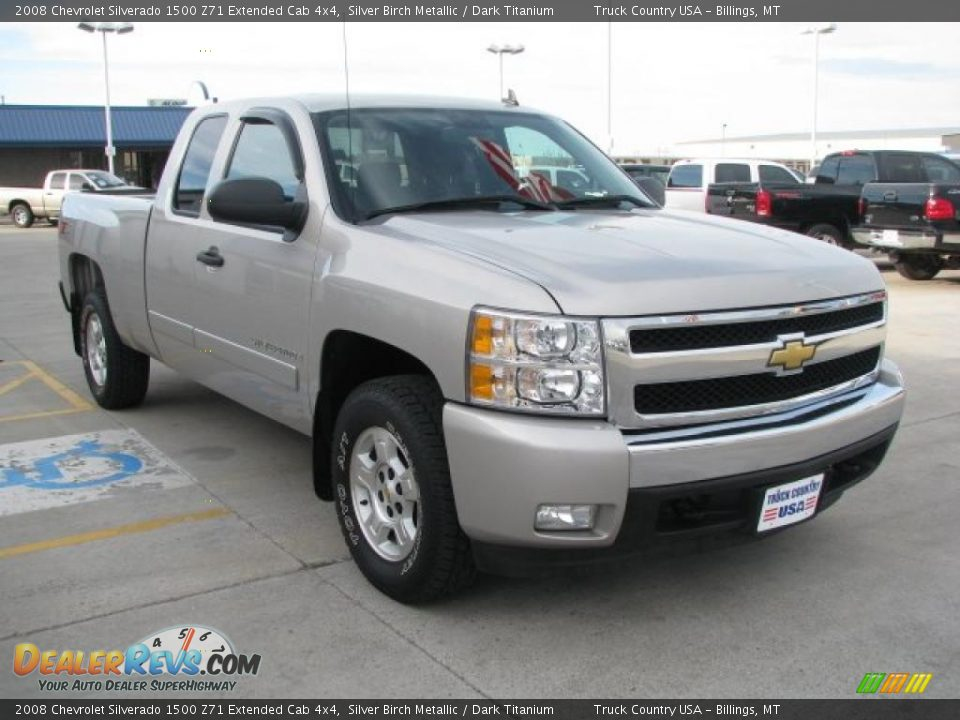 2008 chevrolet silverado 1500 z71 extended cab 4x4 silver birch metallic dark titanium photo. Black Bedroom Furniture Sets. Home Design Ideas