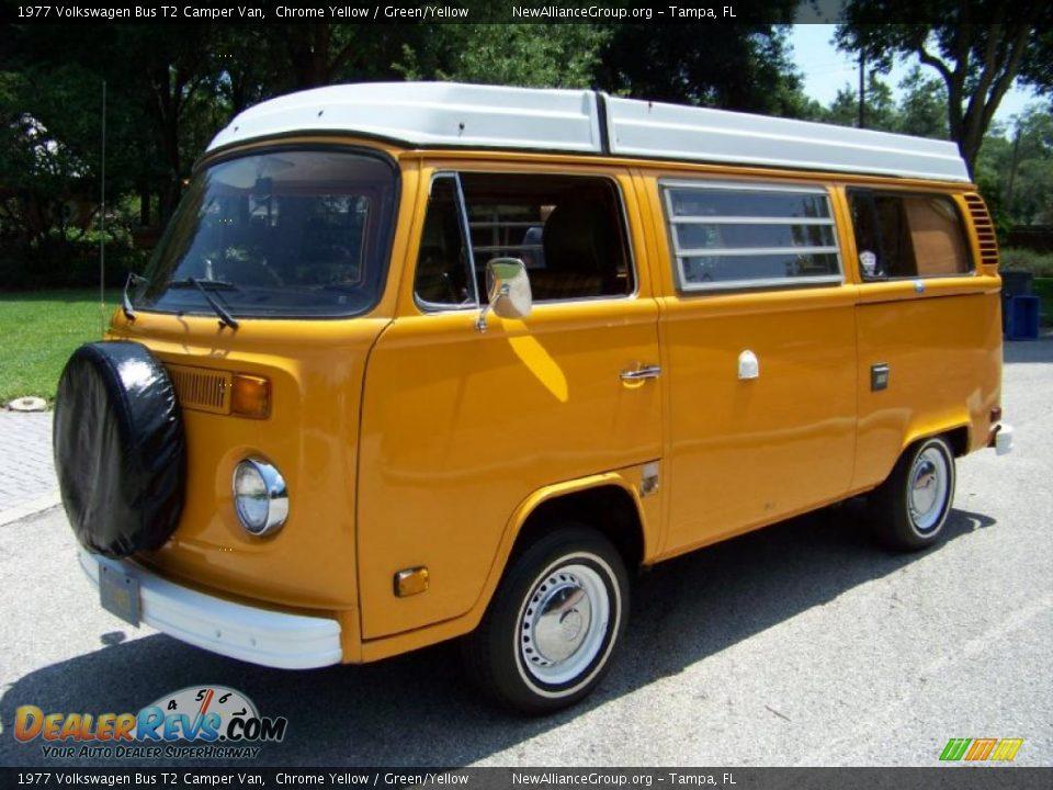 1977 Volkswagen Bus T2 Camper Van Chrome Yellow Green