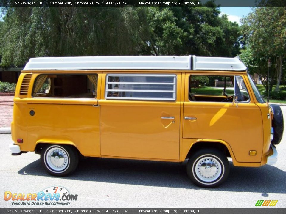 1977 volkswagen bus t2 camper van chrome yellow green yellow photo 8. Black Bedroom Furniture Sets. Home Design Ideas