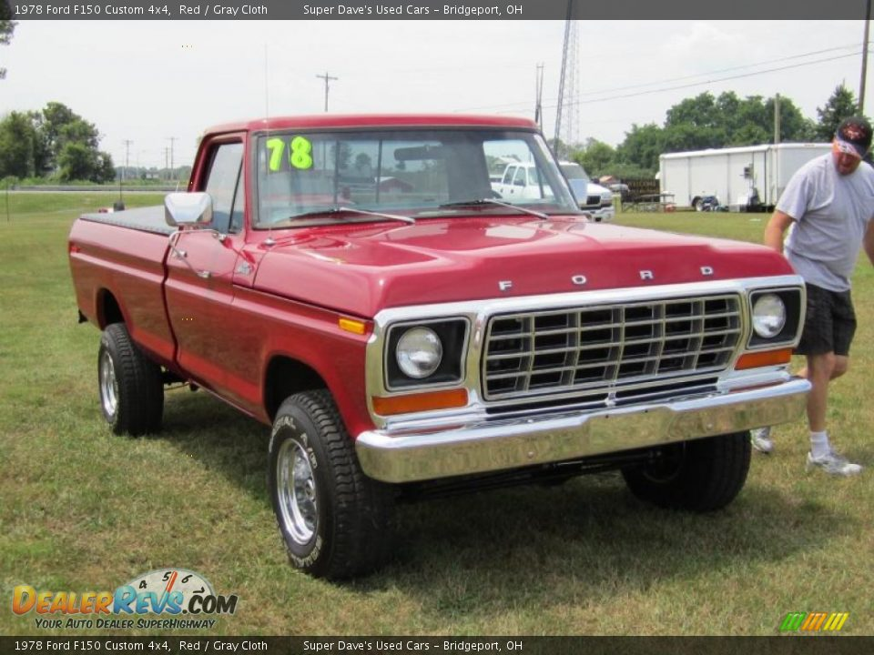 1978 Ford F150 Custom 4x4 Red / Gray Cloth Photo #6