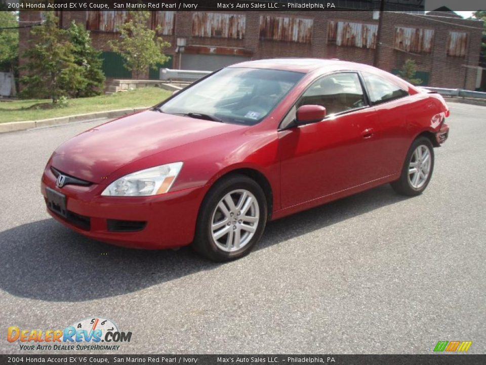 2004 honda accord ex v6 coupe san marino red pearl ivory photo 1. Black Bedroom Furniture Sets. Home Design Ideas