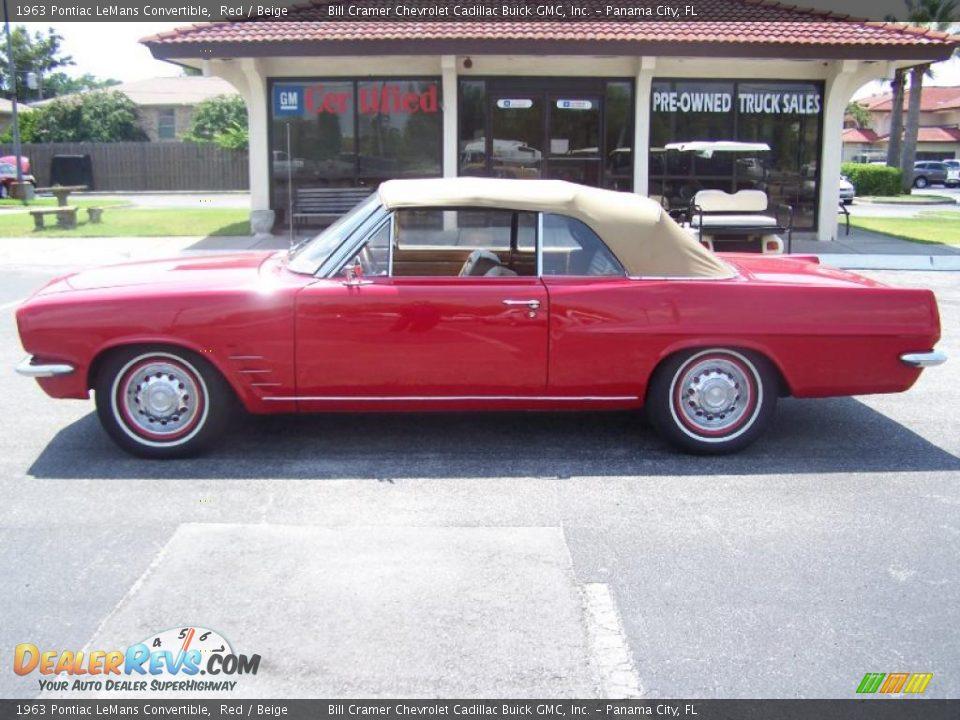1963 Pontiac Lemans Convertible Red Beige Photo 2