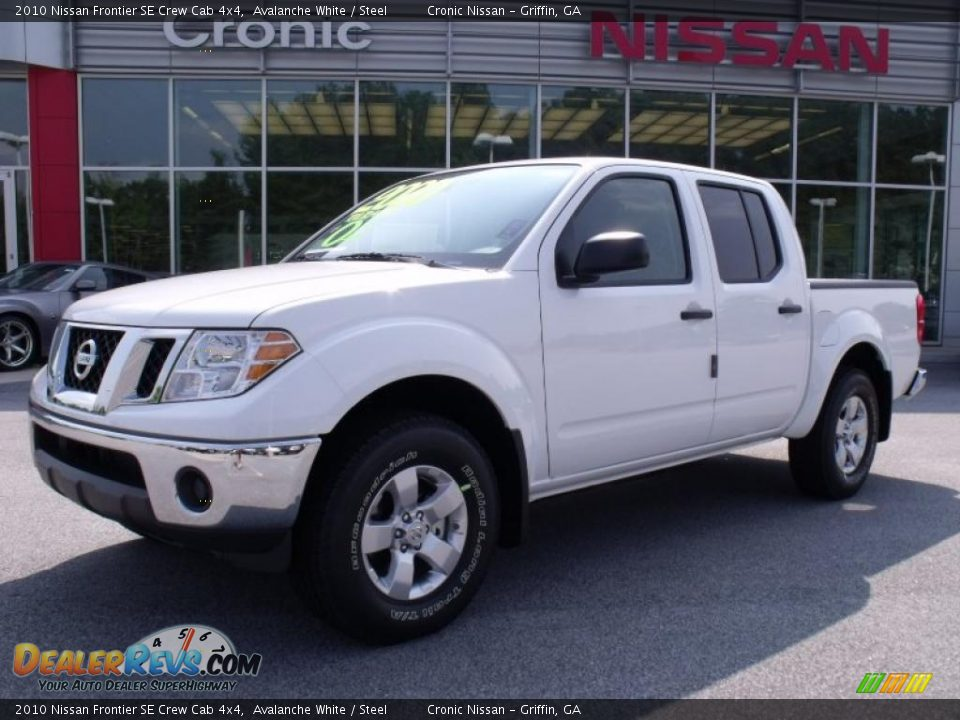 2010 nissan frontier se crew cab 4x4 avalanche white steel photo 1. Black Bedroom Furniture Sets. Home Design Ideas