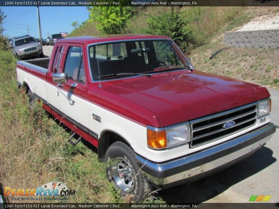 1990 Ford F150 XLT Lariat Extended Cab Medium Cabernet / Red Photo #10 ...