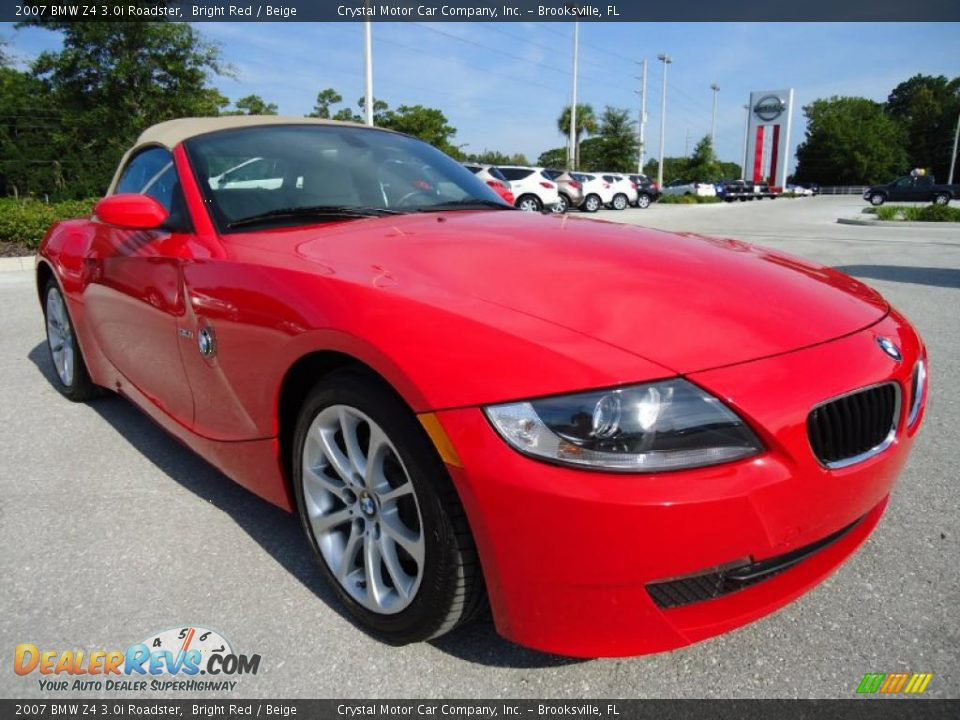 2007 Bmw Z4 3 0i Roadster Bright Red Beige Photo 12