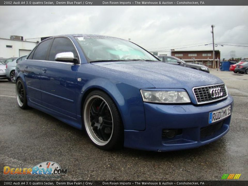 2002 audi a4 3 0 quattro sedan denim blue pearl grey. Black Bedroom Furniture Sets. Home Design Ideas