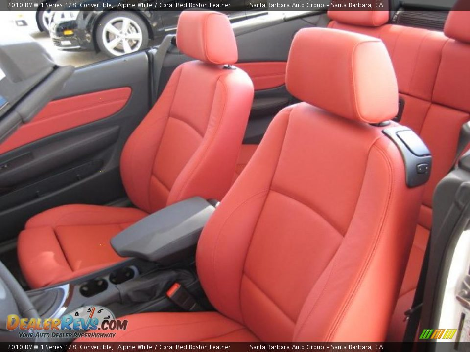 Coral Red Boston Leather Interior 2010 Bmw 1 Series 128i Convertible Photo 5