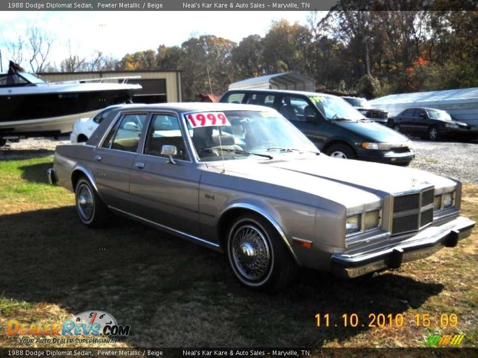 1988 Dodge Diplomat Sedan Pewter Metallic    Beige Photo  3