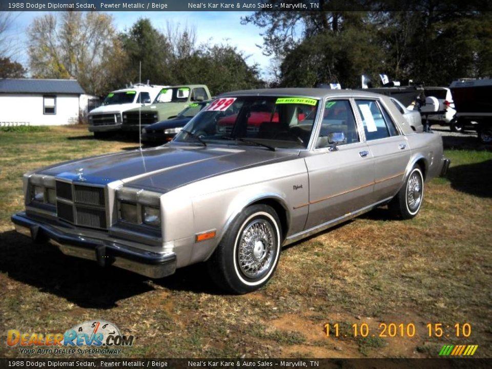 1988 Dodge Diplomat Sedan Pewter Metallic    Beige Photo  8