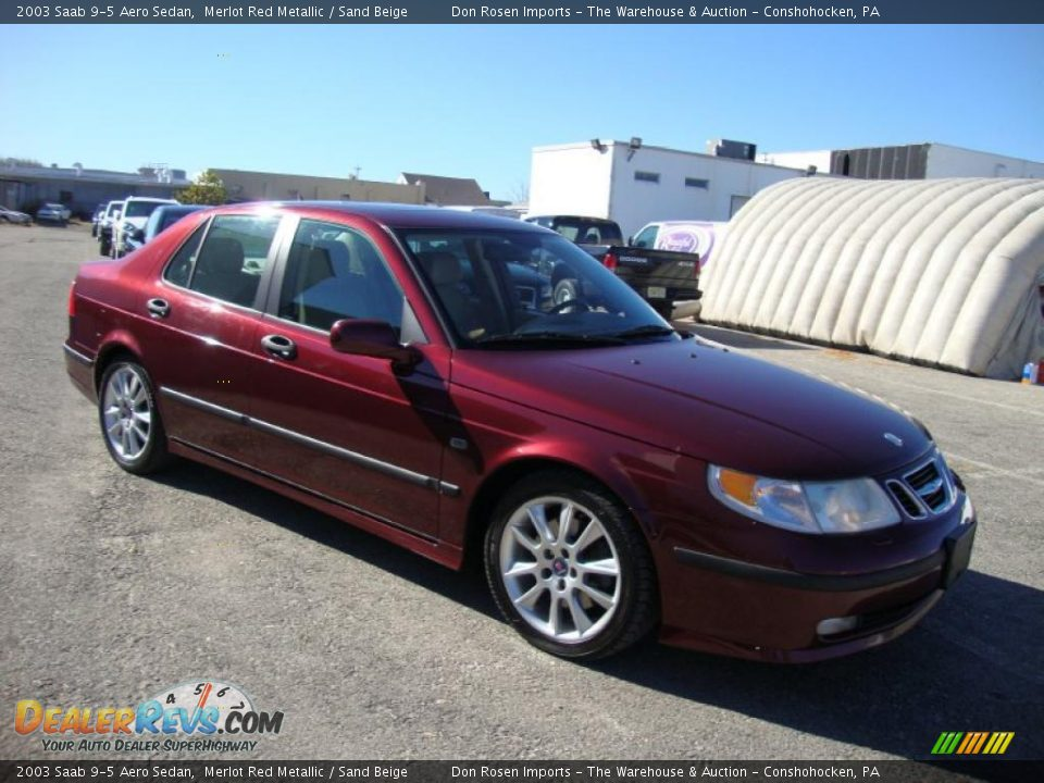 2003 Saab 9 5 Aero Sedan Merlot Red Metallic Sand Beige Photo 6