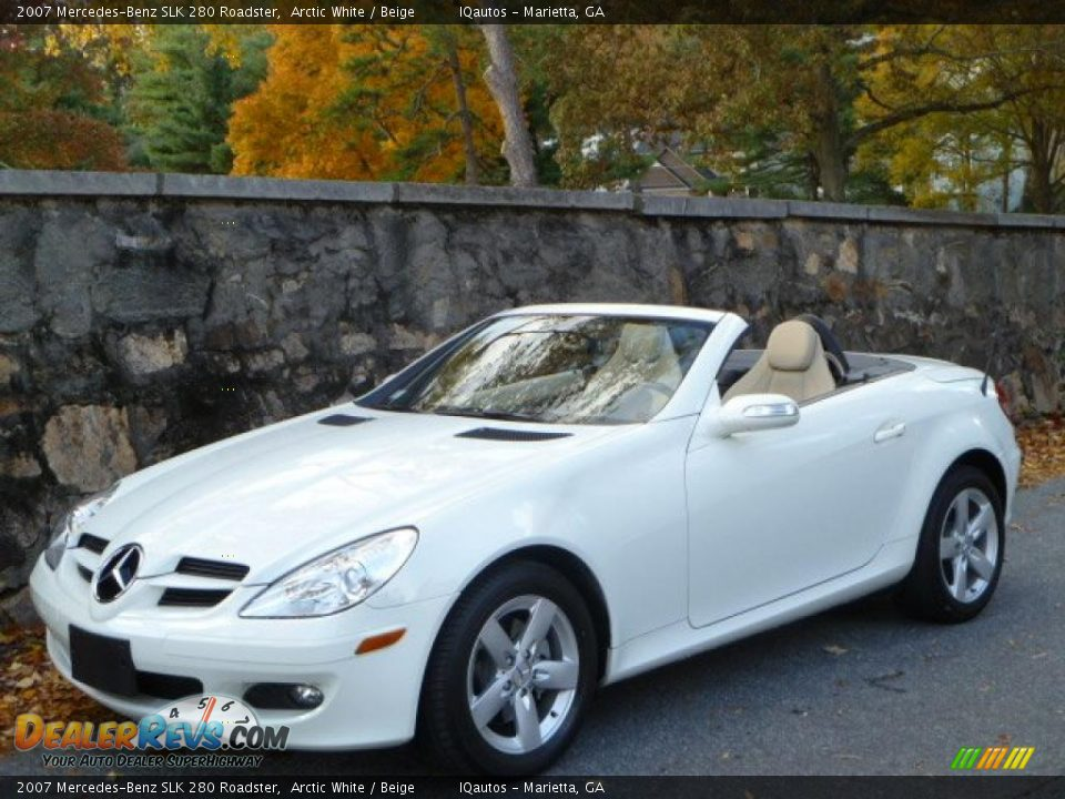 2007 mercedes benz slk 280 roadster arctic white beige photo 1. Black Bedroom Furniture Sets. Home Design Ideas