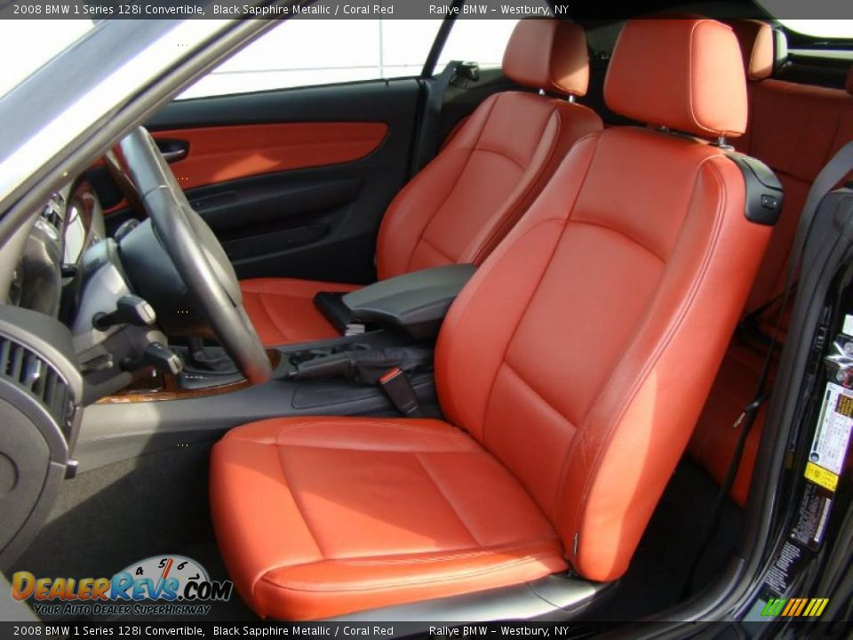 Coral Red Interior 2008 Bmw 1 Series 128i Convertible Photo 8