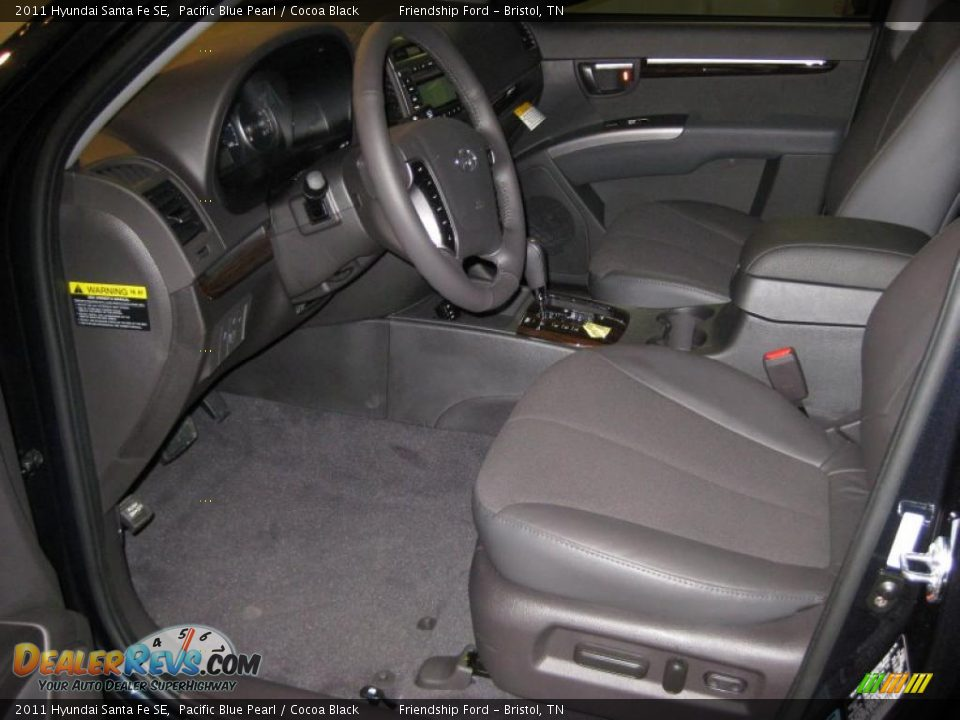 cocoa black interior 2011 hyundai santa fe se photo 12