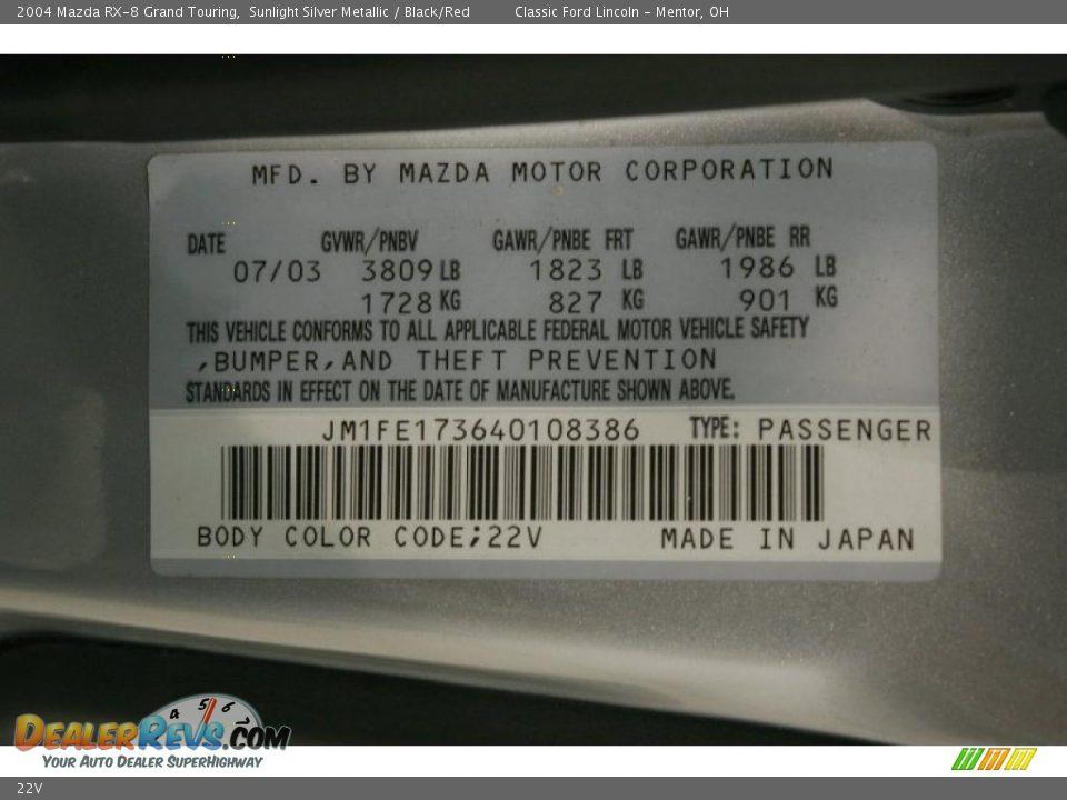 Mazda Color Code 22v Sunlight Silver Metallic Dealerrevs Com
