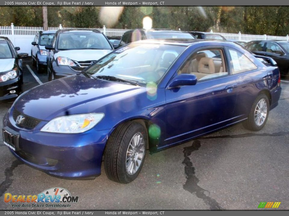 2005 honda civic ex coupe fiji blue pearl ivory photo 1. Black Bedroom Furniture Sets. Home Design Ideas