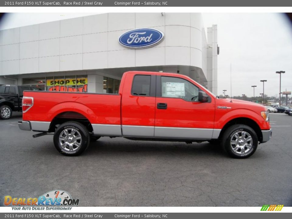 2011 Ford F150 Xlt Supercab Race Red Steel Gray Photo 2