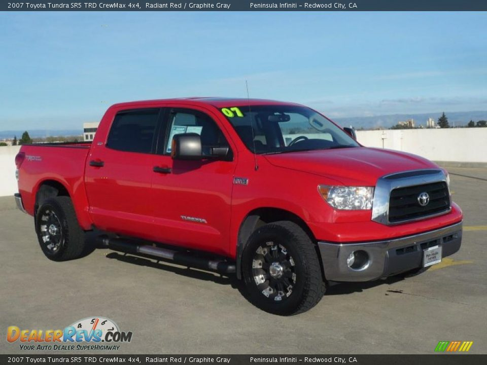 2007 toyota tundra sr5 trd crewmax 4x4 radiant red graphite gray photo 1. Black Bedroom Furniture Sets. Home Design Ideas