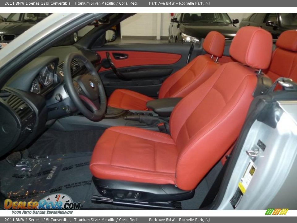 Coral Red Interior 2011 Bmw 1 Series 128i Convertible Photo 4