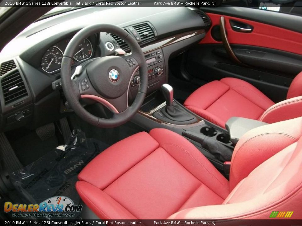 Coral Red Boston Leather Interior 2010 Bmw 1 Series 128i Convertible Photo 10
