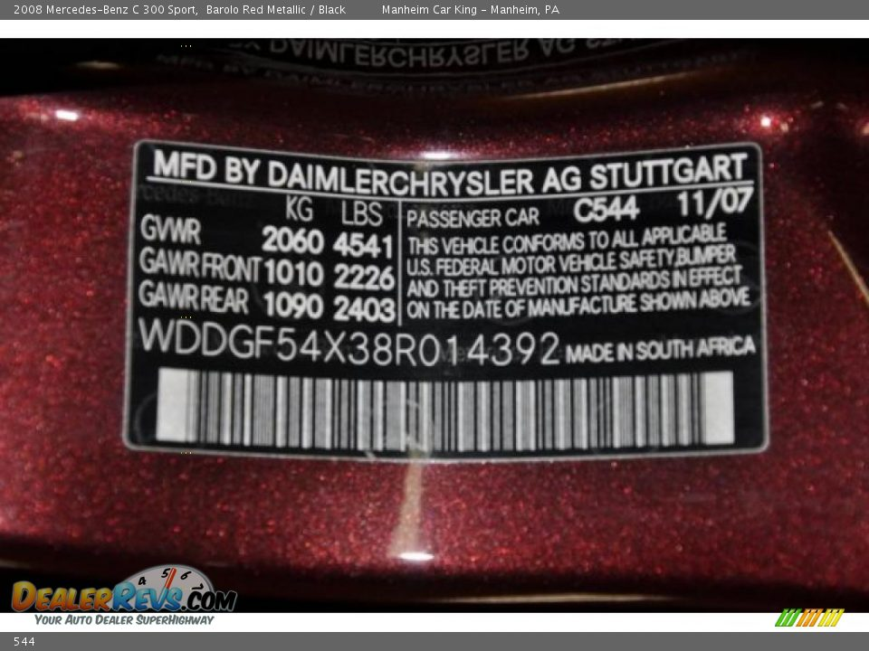 Mercedes Benz Paint Code Location