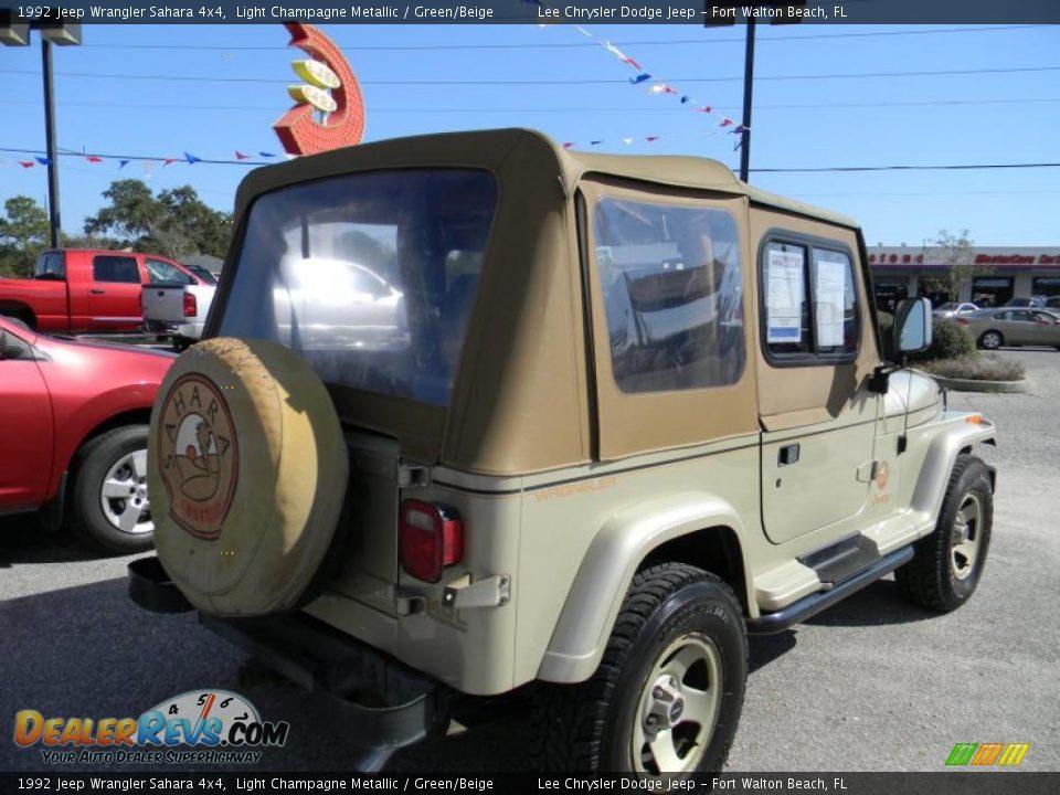 1992 jeep wrangler sahara 4x4 light champagne metallic green beige photo 5. Black Bedroom Furniture Sets. Home Design Ideas