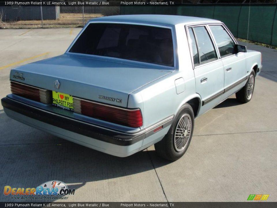 1989 Plymouth Reliant K LE America Light Blue Metallic Photo 3