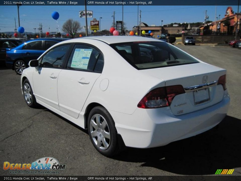 2011 Honda Civic Lx Sedan Taffeta White Beige Photo 3