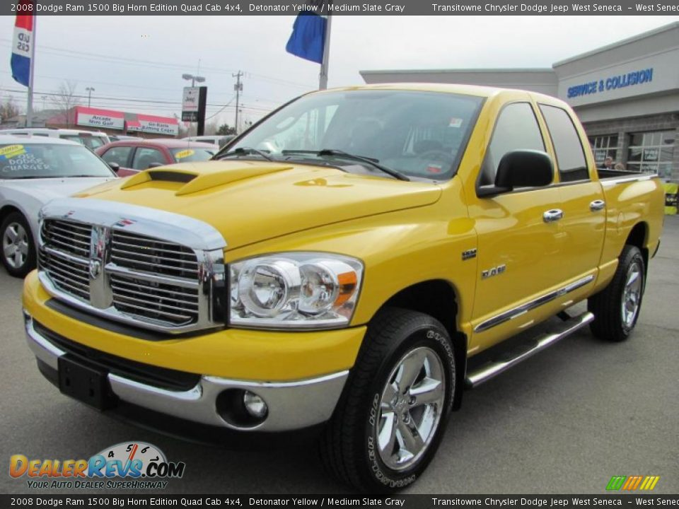 2008 dodge ram 1500 big horn edition quad cab 4x4 detonator yellow medium slate gray photo 1. Black Bedroom Furniture Sets. Home Design Ideas