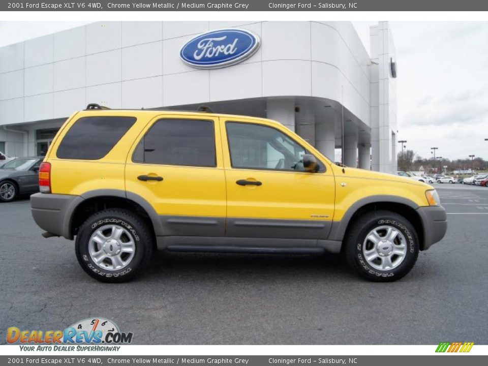 2001 Ford Escape XLT V6 4WD Chrome Yellow Metallic / Medium Graphite