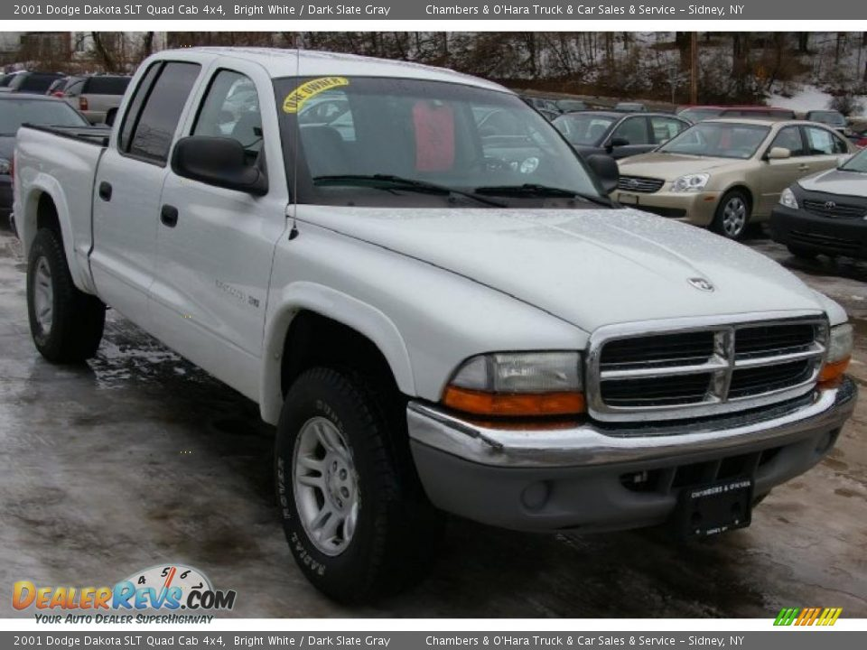 2001 dodge dakota slt quad cab 4x4 bright white dark. Black Bedroom Furniture Sets. Home Design Ideas