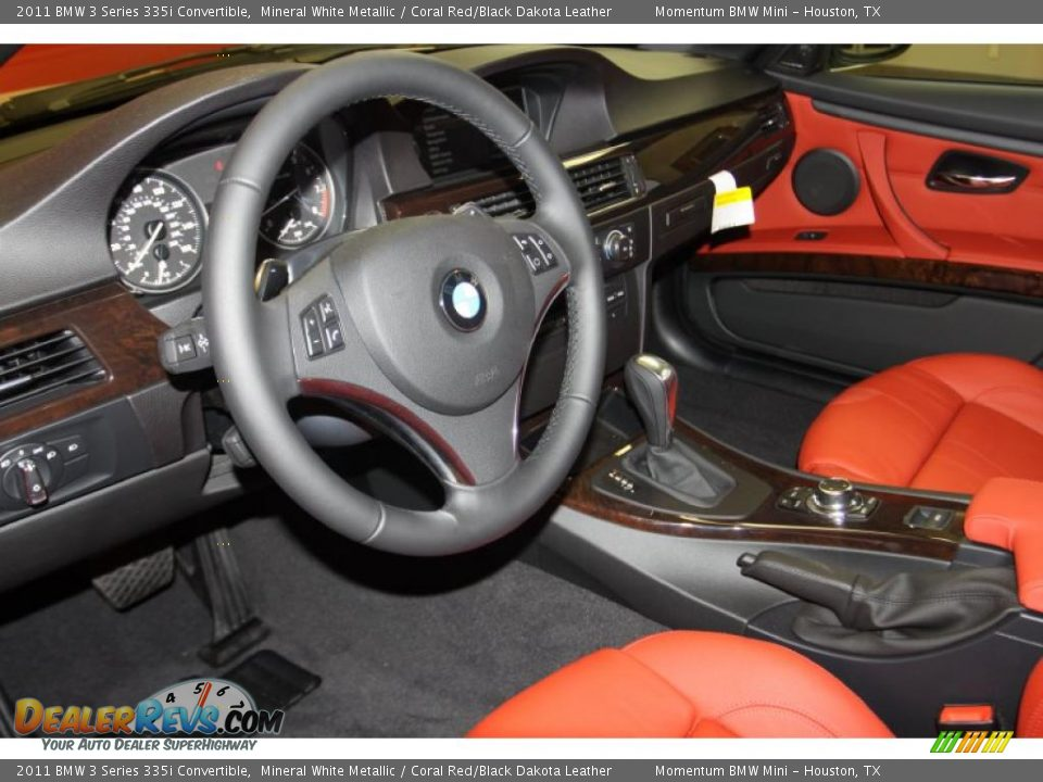 Coral Red Black Dakota Leather Interior 2011 Bmw 3 Series 335i Convertible Photo 8