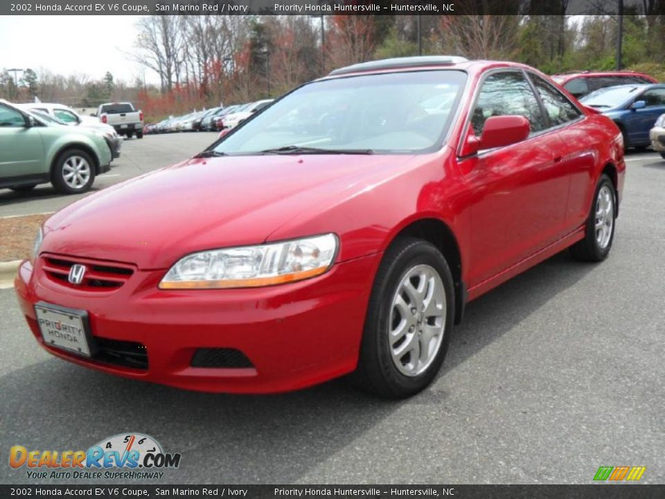 2002 honda accord ex v6 coupe san marino red ivory photo 1. Black Bedroom Furniture Sets. Home Design Ideas