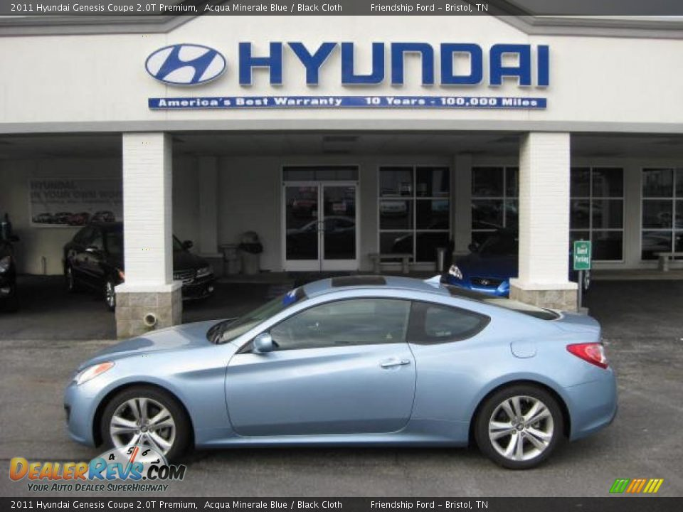 2011 Hyundai Genesis Coupe 2 0t Premium Acqua Minerale Blue Black Cloth Photo 1 Dealerrevs Com