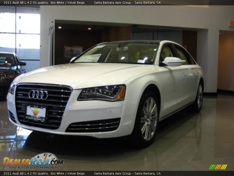 2011 audi a8 l 4 2 fsi quattro ibis white velvet beige. Black Bedroom Furniture Sets. Home Design Ideas