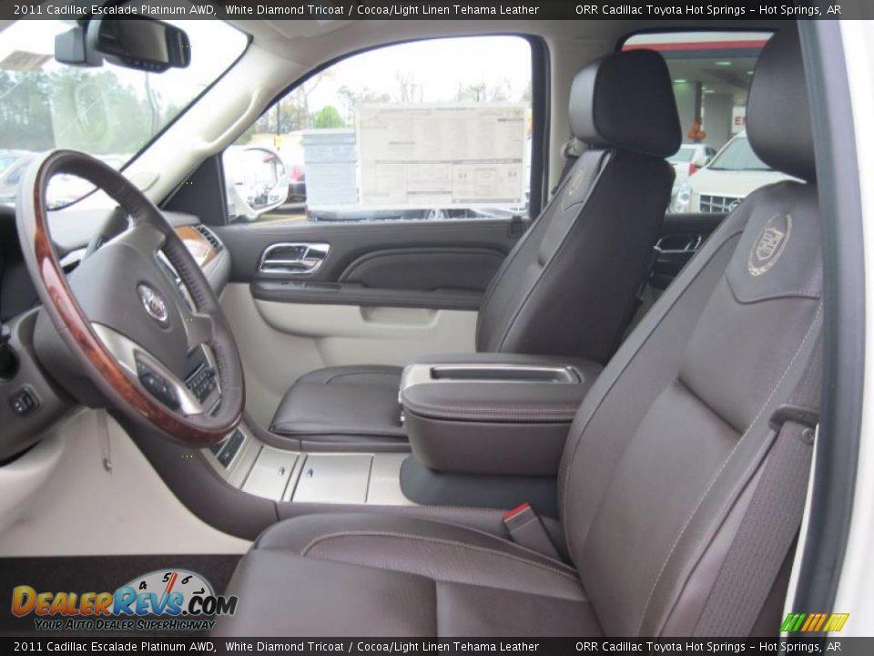 Cocoa Light Linen Tehama Leather Interior 2011 Cadillac Escalade Platinum Awd Photo 10
