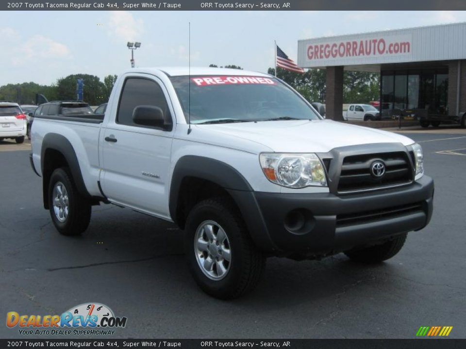 2007 toyota tacoma regular cab 4x4 super white taupe photo 1. Black Bedroom Furniture Sets. Home Design Ideas