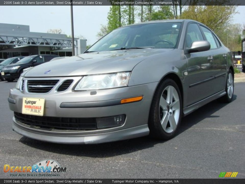 2006 Saab 9-3 Aero Sport Sedan Steel Gray Metallic / Slate Gray Photo #1