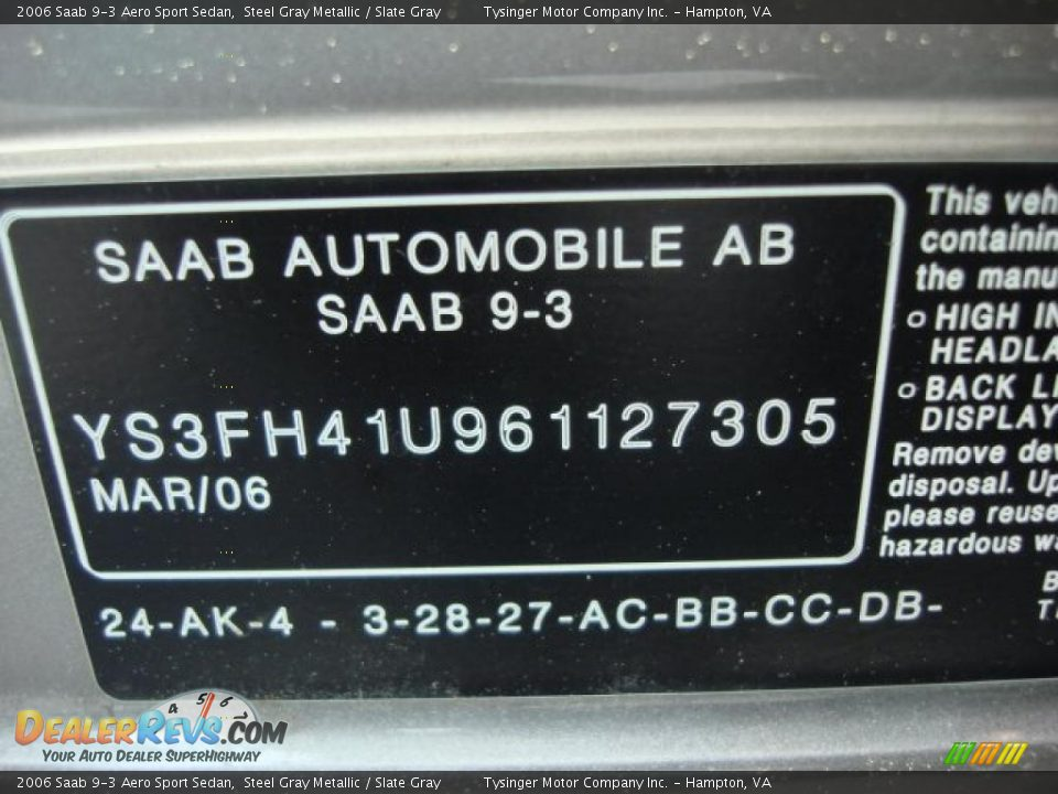 Info Tag of 2006 Saab 9-3 Aero Sport Sedan Photo #27