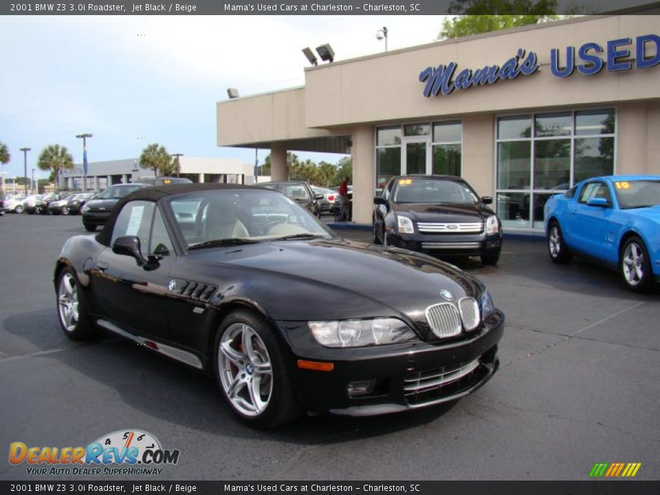 2001 Bmw Z3 3 0i Roadster Jet Black Beige Photo 2