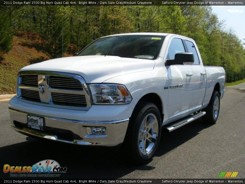 2011 dodge ram 1500 big horn quad cab 4x4 bright white dark slate gray medium graystone photo. Black Bedroom Furniture Sets. Home Design Ideas