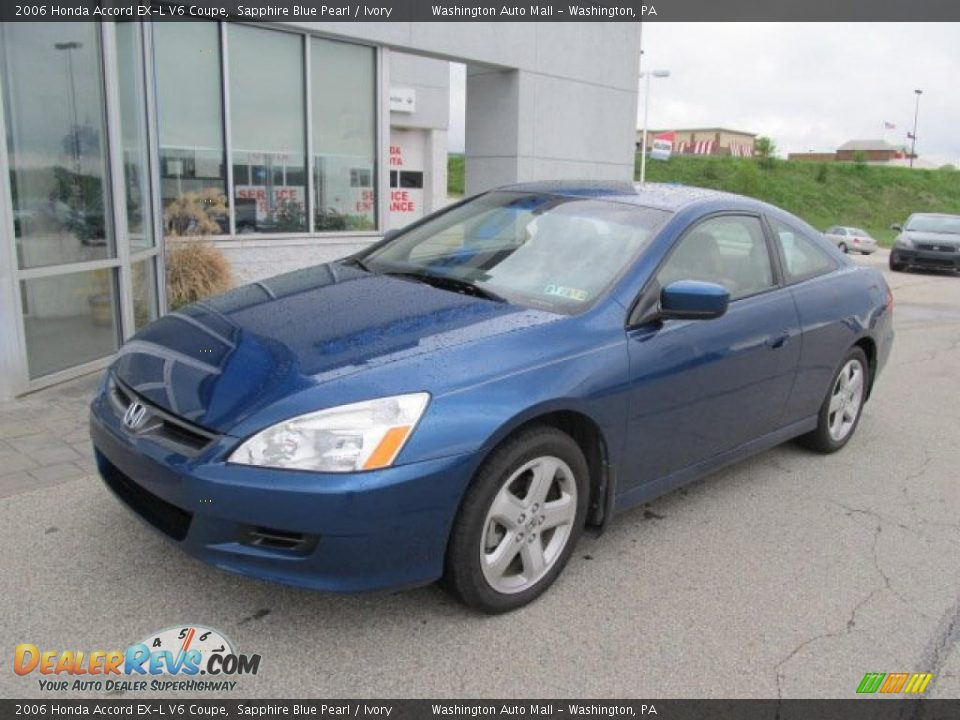 2006 honda accord ex l v6 coupe sapphire blue pearl ivory photo 2. Black Bedroom Furniture Sets. Home Design Ideas