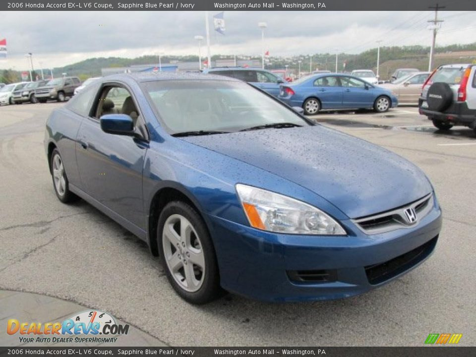 2006 honda accord ex l v6 coupe sapphire blue pearl ivory photo 11. Black Bedroom Furniture Sets. Home Design Ideas