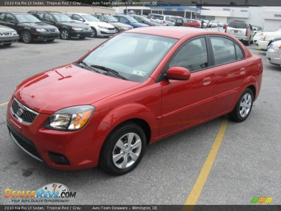 Kia Rio Lx >> 2010 Kia Rio LX Sedan Tropical Red / Gray Photo #2 | DealerRevs.com