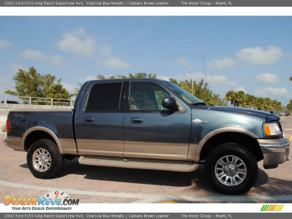 2002 ford f150 king ranch supercrew 4x4 charcoal blue metallic castano brown leather photo 9. Black Bedroom Furniture Sets. Home Design Ideas