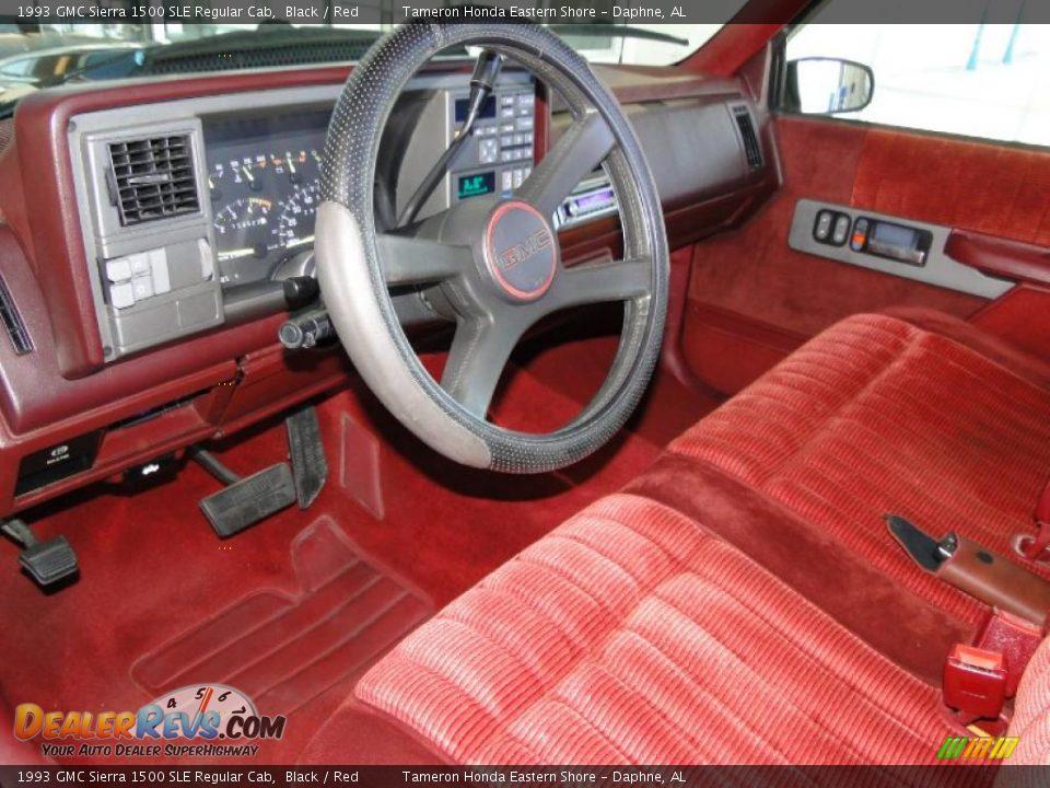 Red Interior 1993 Gmc Sierra 1500 Sle Regular Cab Photo 12