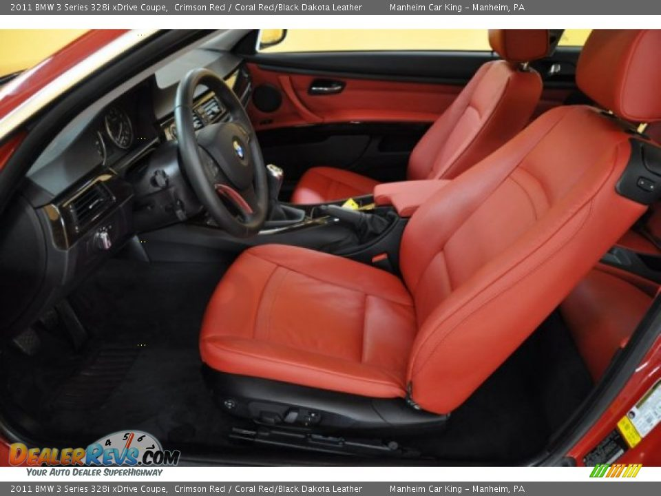 Coral Red Black Dakota Leather Interior 2011 Bmw 3 Series 328i Xdrive Coupe Photo 11